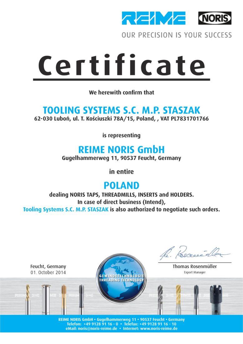 REIME NORIS autoryzacja TOOLING SYSTEMS